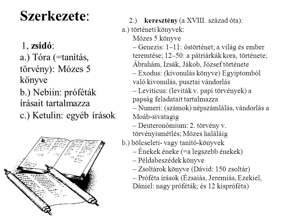 Szerkezete: 2.) keresztény (a XVIII. század óta):