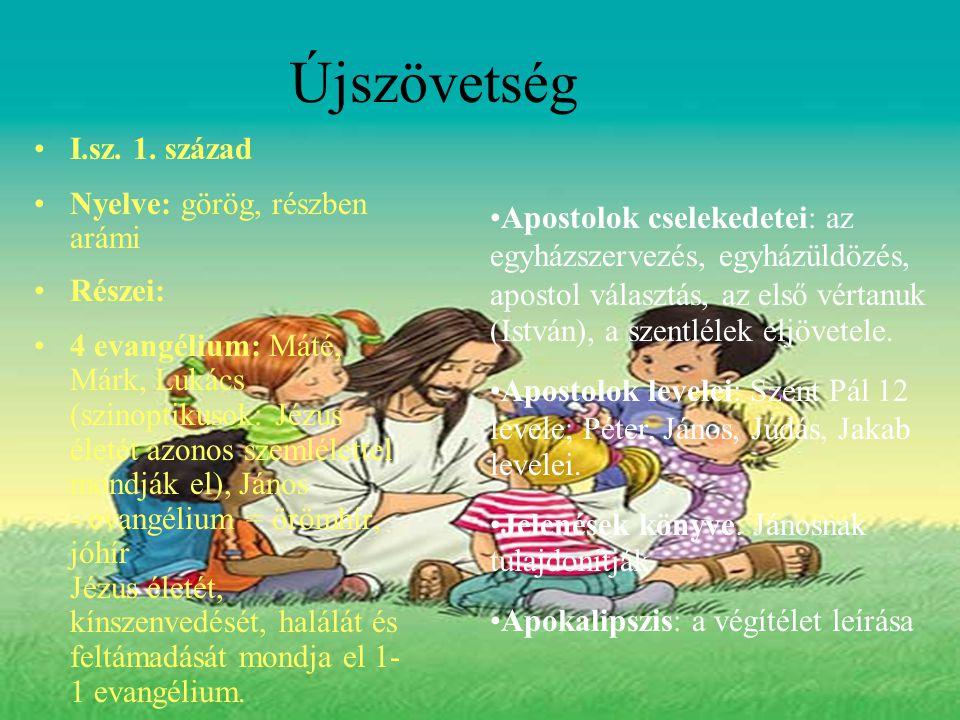Újszövetség I.sz. 1. század Nyelve: görög, részben arámi Részei: