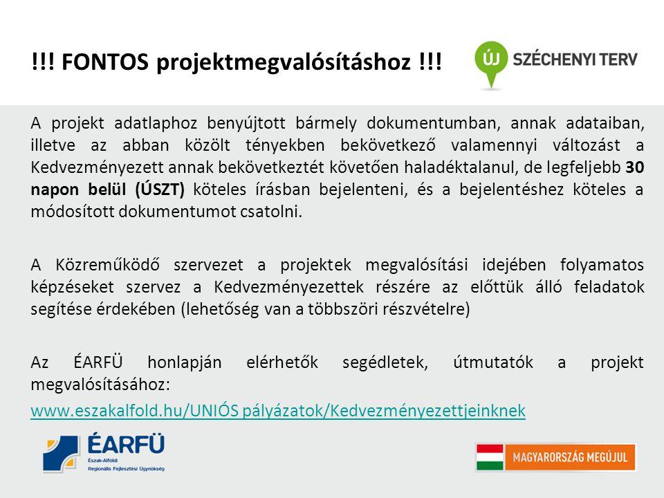!!! FONTOS projektmegvalósításhoz !!!