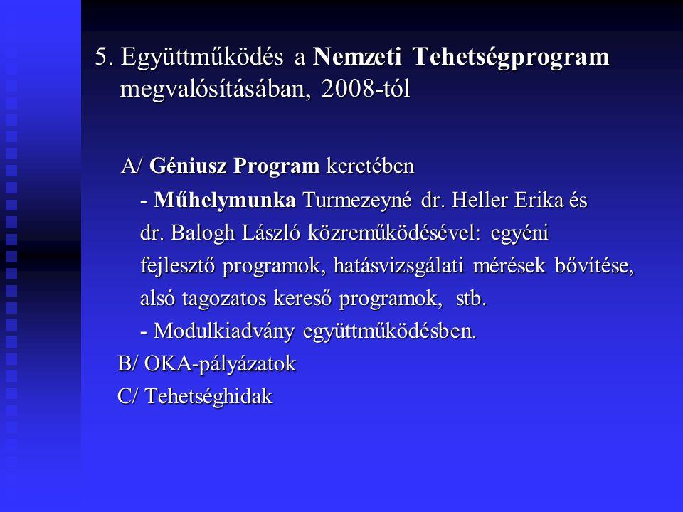 5. Együttműködés a Nemzeti Tehetségprogram megvalósításában, 2008-tól