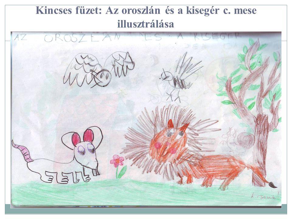 Kincses füzet: Az oroszlán és a kisegér c. mese illusztrálása