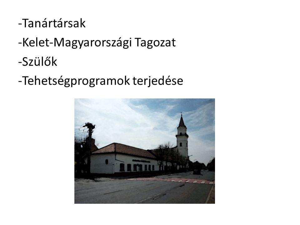 Tanártársak Kelet-Magyarországi Tagozat Szülők Tehetségprogramok terjedése