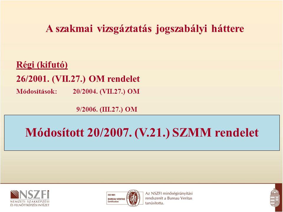 Módosított 20/2007. (V.21.) SZMM rendelet
