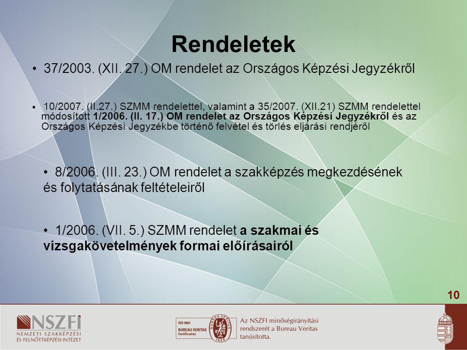Rendeletek 37/2003. (XII. 27.) OM rendelet az Országos Képzési Jegyzékről.