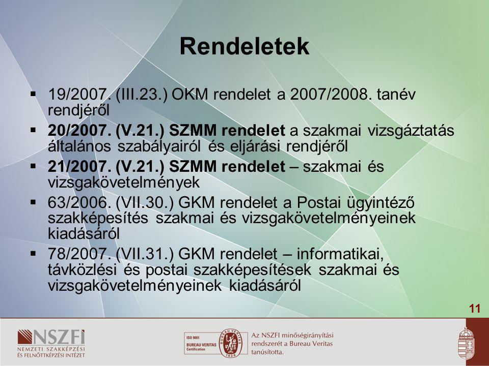 Rendeletek 19/2007. (III.23.) OKM rendelet a 2007/2008. tanév rendjéről.