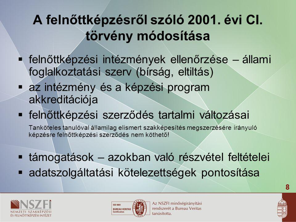 A felnőttképzésről szóló 2001. évi CI. törvény módosítása