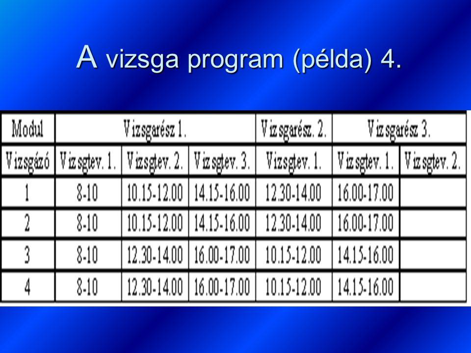 A vizsga program (példa) 4.