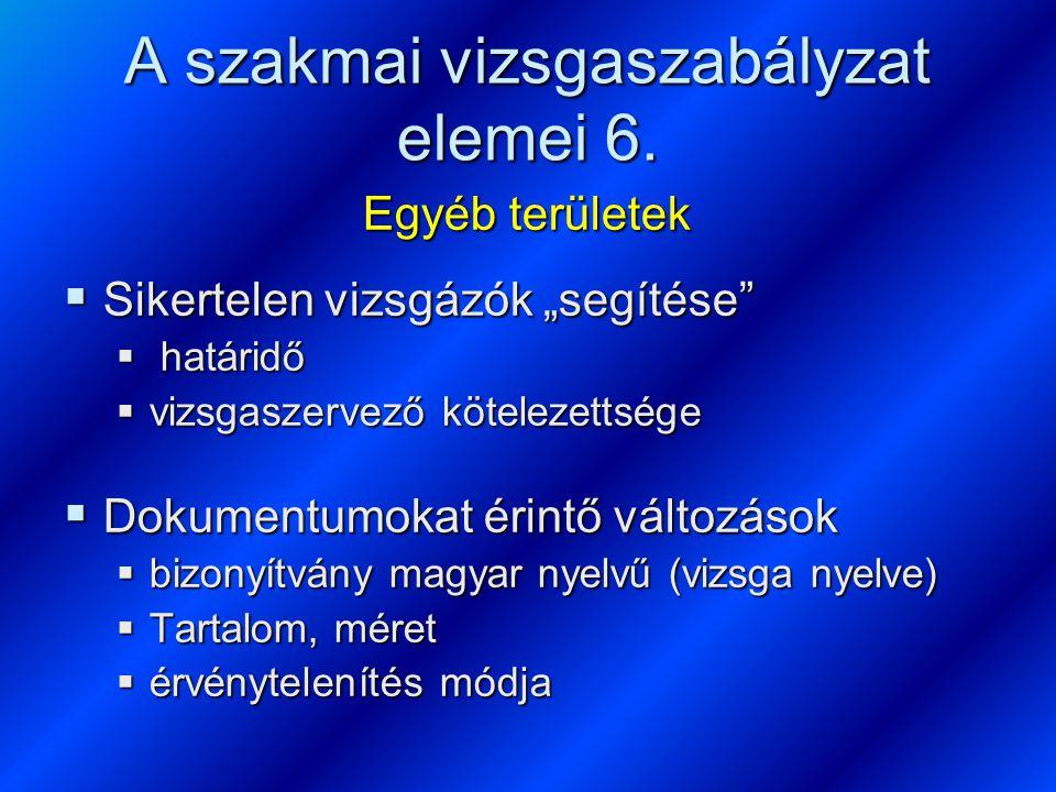 A szakmai vizsgaszabályzat elemei 6.