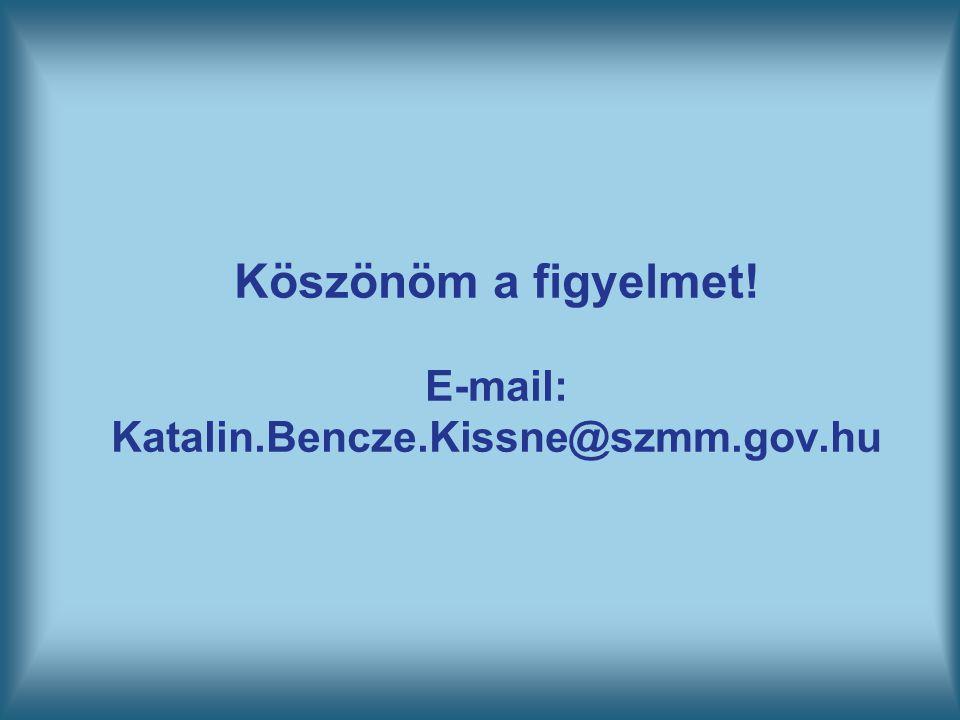 Köszönöm a figyelmet! E-mail: Katalin.Bencze.Kissne@szmm.gov.hu