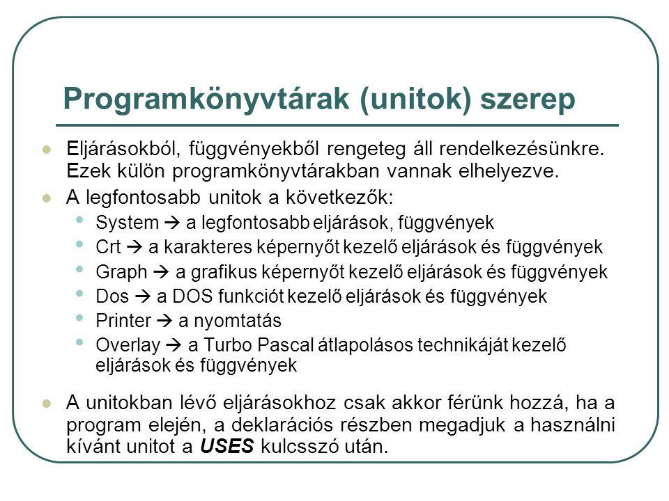 Programkönyvtárak (unitok) szerep