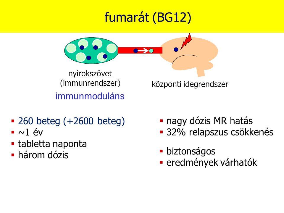fumarát (BG12) immunmoduláns 260 beteg (+2600 beteg) ~1 év