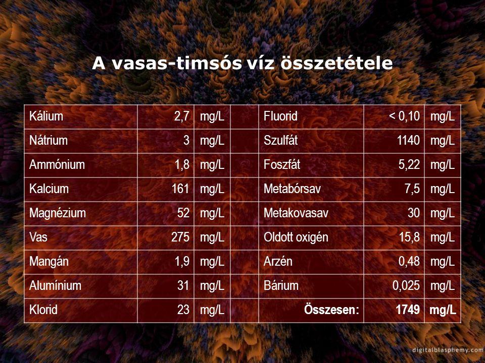 A vasas-timsós víz összetétele