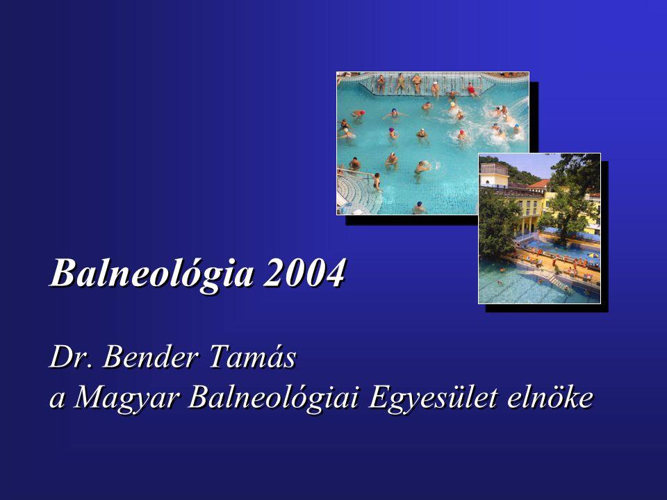 Balneológia 2004 Dr. Bender Tamás a Magyar Balneológiai Egyesület elnöke