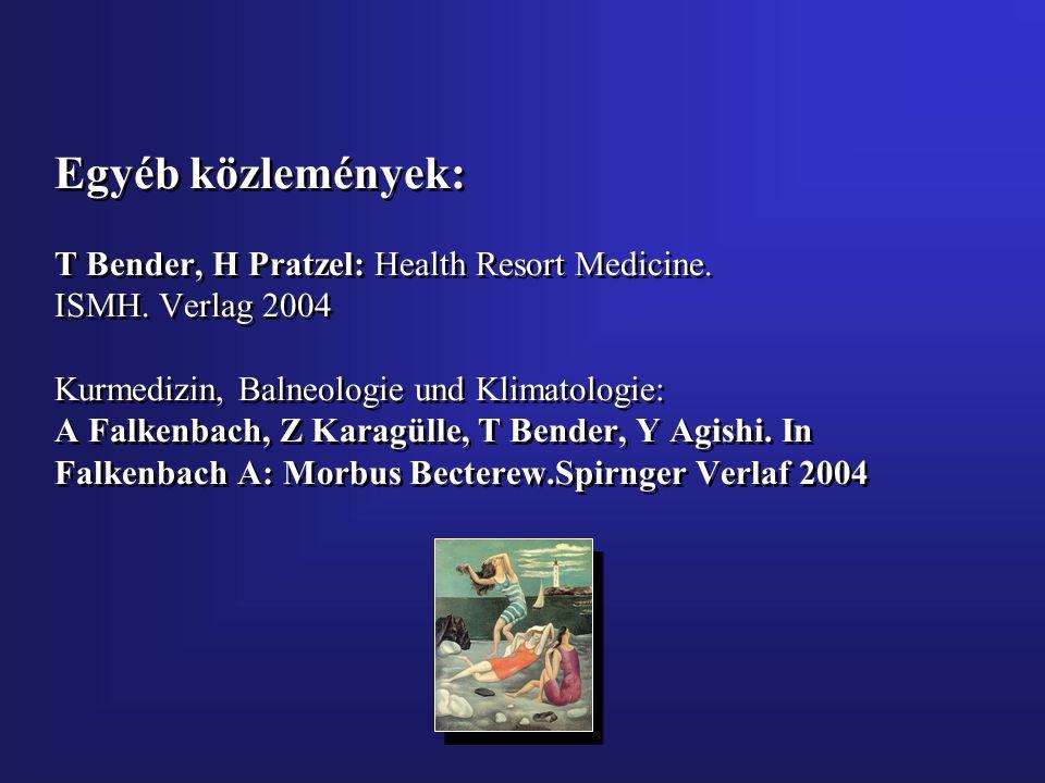 Egyéb közlemények: T Bender, H Pratzel: Health Resort Medicine. ISMH