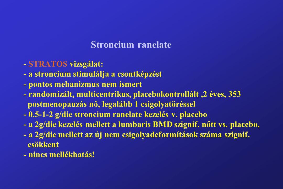 Stroncium ranelate - STRATOS vizsgálat: - a stroncium stimulálja a csontképzést - pontos mehanizmus nem ismert - randomizált, multicentrikus, placebokontrollált ,2 éves, 353 postmenopauzás nő, legalább 1 csigolyatöréssel - 0.5-1-2 g/die stroncium ranelate kezelés v.