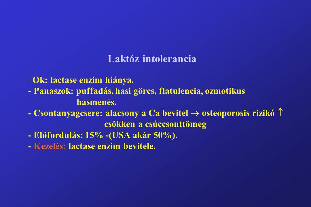 Laktóz intolerancia - Ok: lactase enzim hiánya