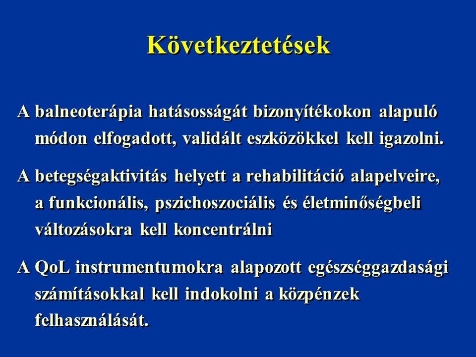 Következtetések A balneoterápia hatásosságát bizonyítékokon alapuló módon elfogadott, validált eszközökkel kell igazolni.