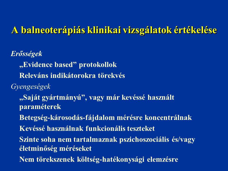 A balneoterápiás klinikai vizsgálatok értékelése