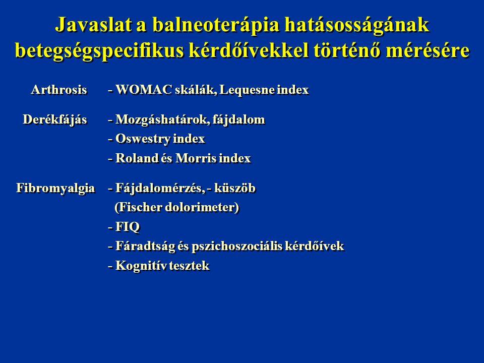 Javaslat a balneoterápia hatásosságának betegségspecifikus kérdőívekkel történő mérésére