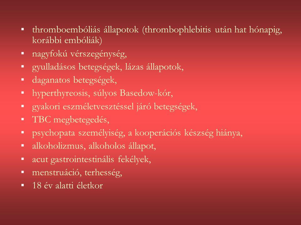 thromboembóliás állapotok (thrombophlebitis után hat hónapig, korábbi embóliák)