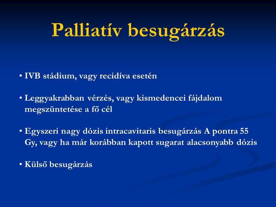 Palliatív besugárzás IVB stádium, vagy recidíva esetén