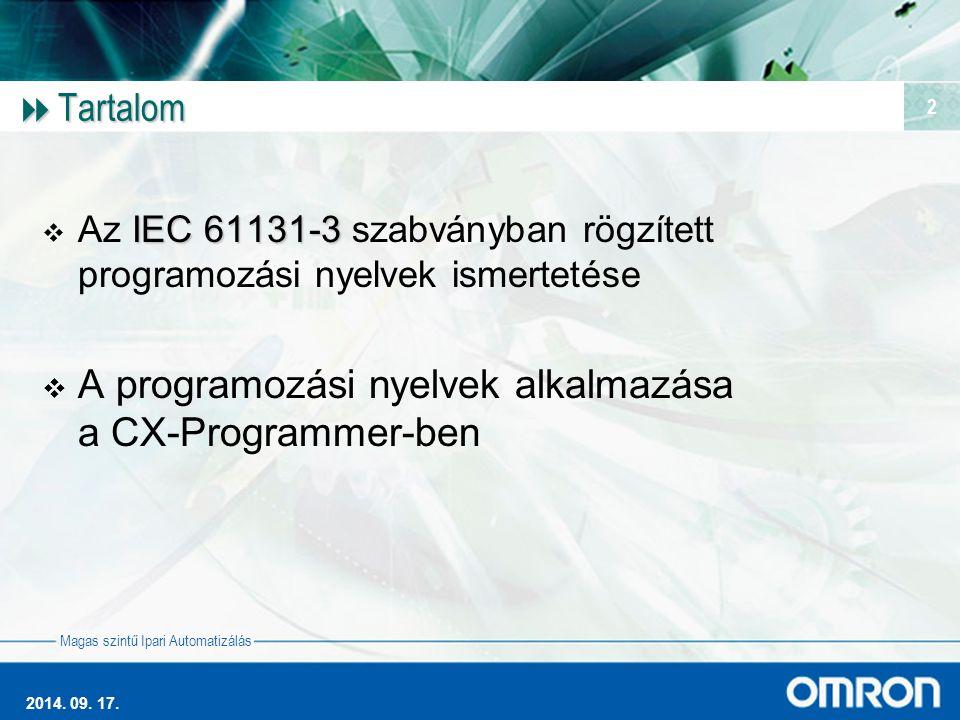 A programozási nyelvek alkalmazása a CX-Programmer-ben