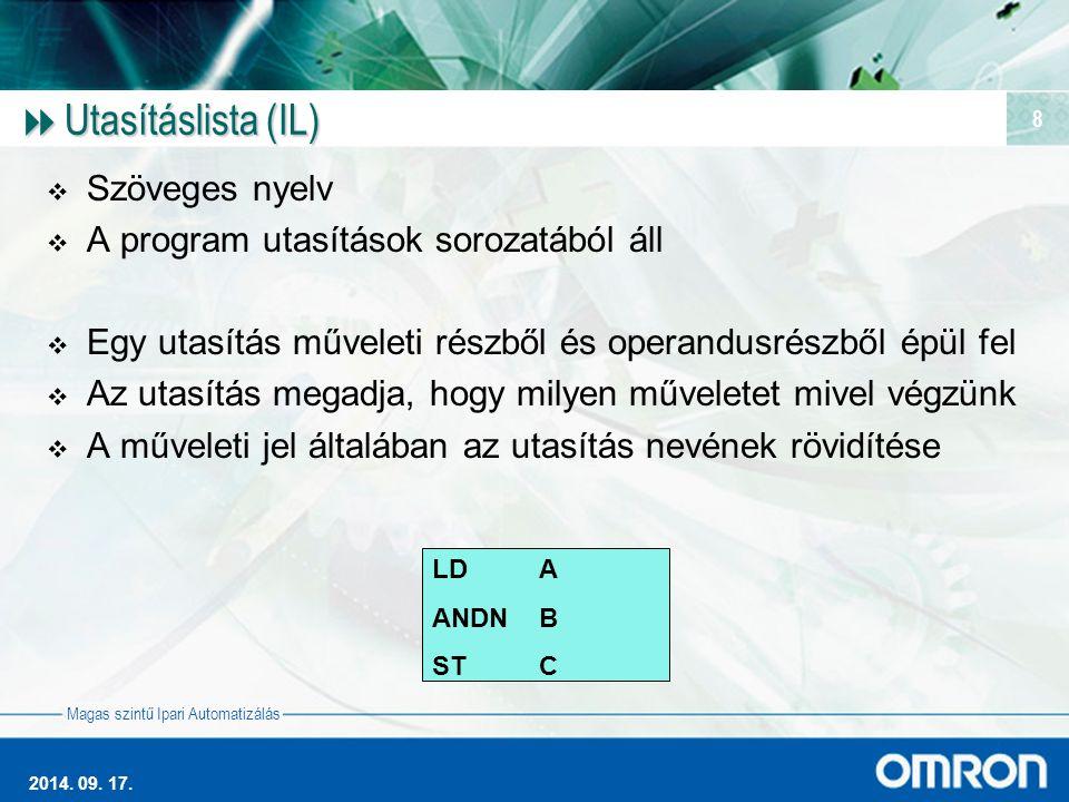 Utasításlista (IL) Szöveges nyelv A program utasítások sorozatából áll