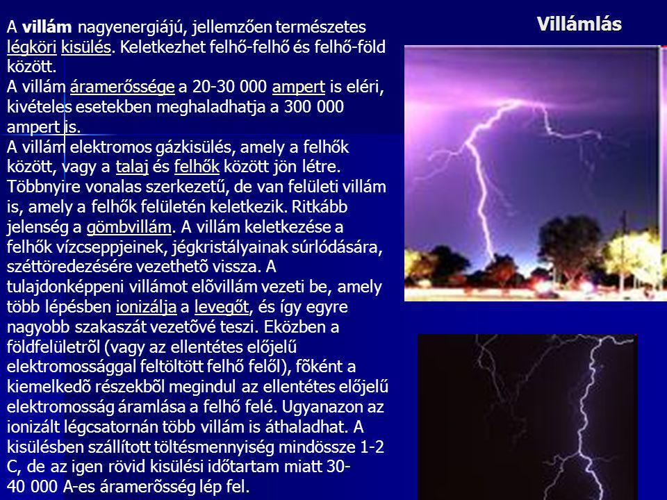 Villámlás A villám nagyenergiájú, jellemzően természetes légköri kisülés. Keletkezhet felhő-felhő és felhő-föld között.