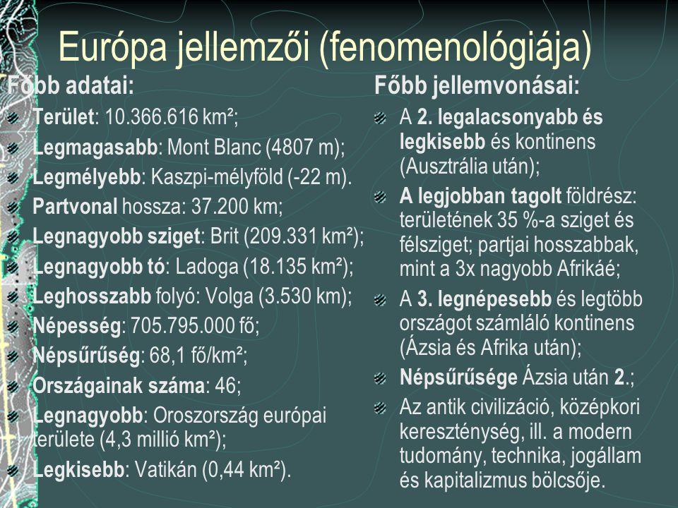 Európa jellemzői (fenomenológiája)