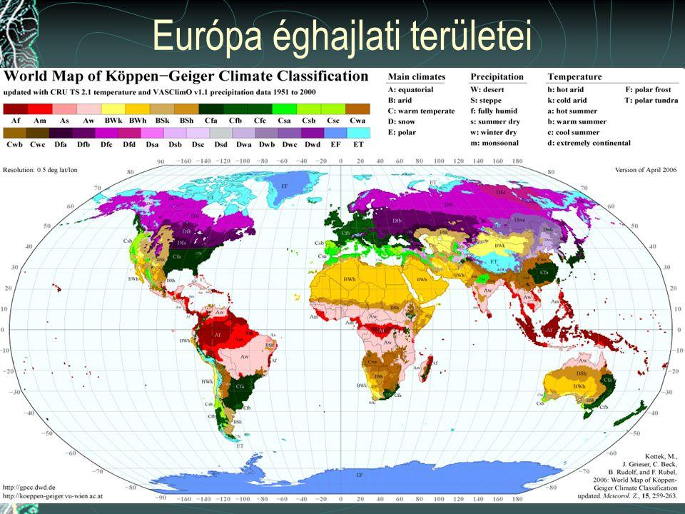 Európa éghajlati területei