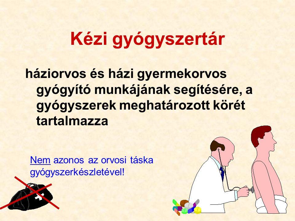 Kézi gyógyszertár háziorvos és házi gyermekorvos gyógyító munkájának segítésére, a gyógyszerek meghatározott körét tartalmazza.