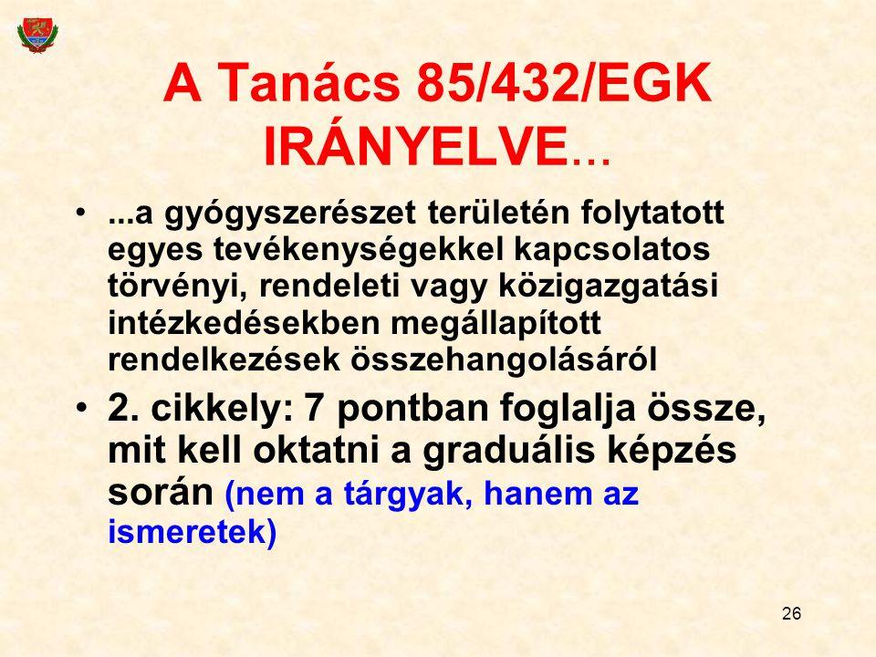 A Tanács 85/432/EGK IRÁNYELVE...