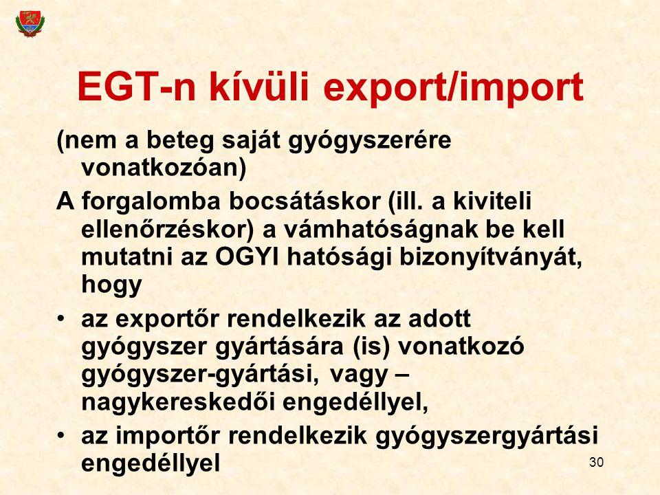 EGT-n kívüli export/import