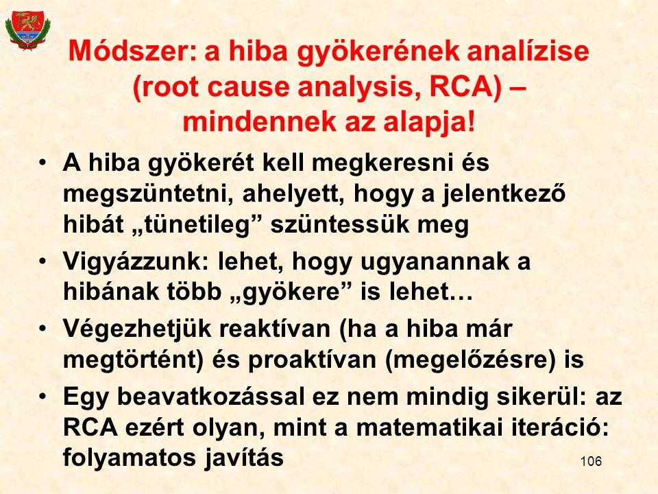 Módszer: a hiba gyökerének analízise (root cause analysis, RCA) – mindennek az alapja!