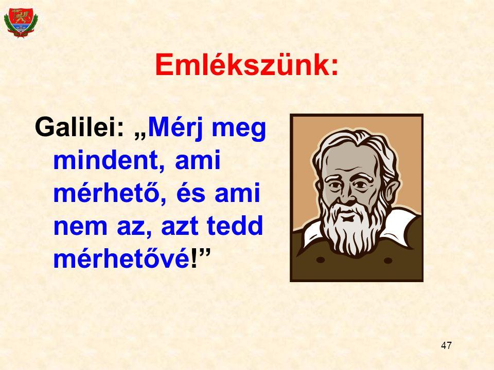 """Emlékszünk: Galilei: """"Mérj meg mindent, ami mérhető, és ami nem az, azt tedd mérhetővé!"""