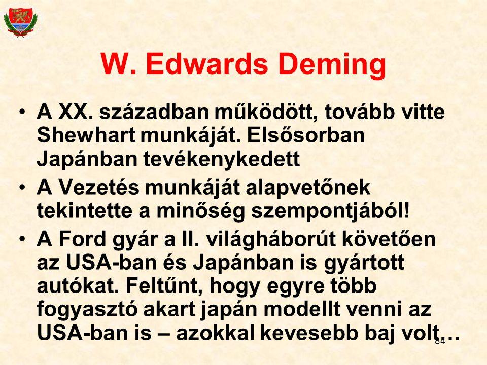 W. Edwards Deming A XX. században működött, tovább vitte Shewhart munkáját. Elsősorban Japánban tevékenykedett.