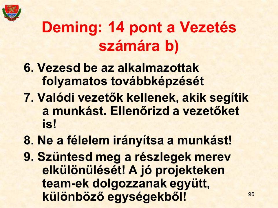 Deming: 14 pont a Vezetés számára b)