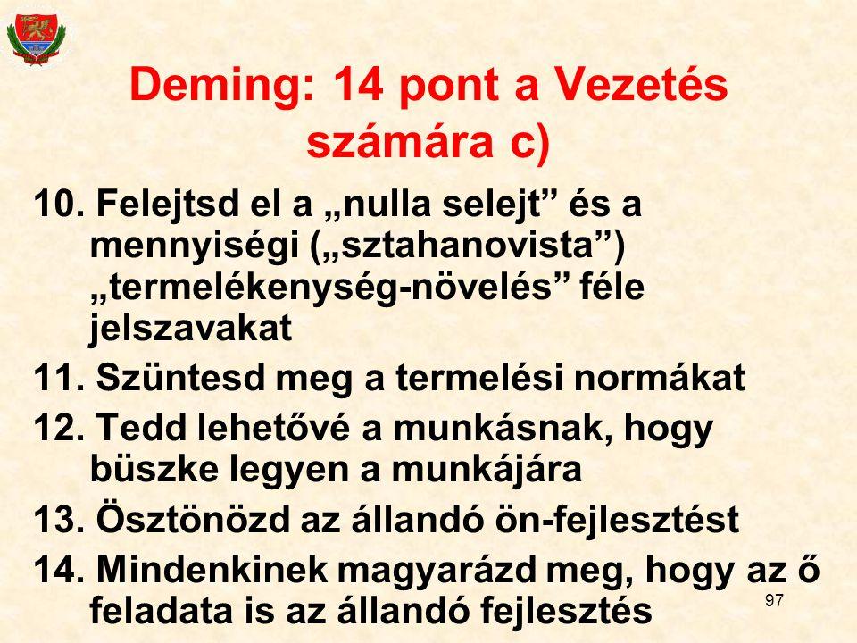 Deming: 14 pont a Vezetés számára c)