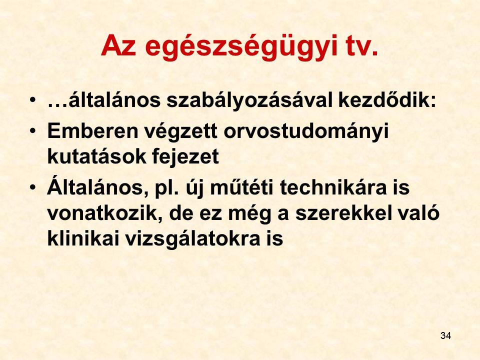 Az egészségügyi tv. …általános szabályozásával kezdődik: