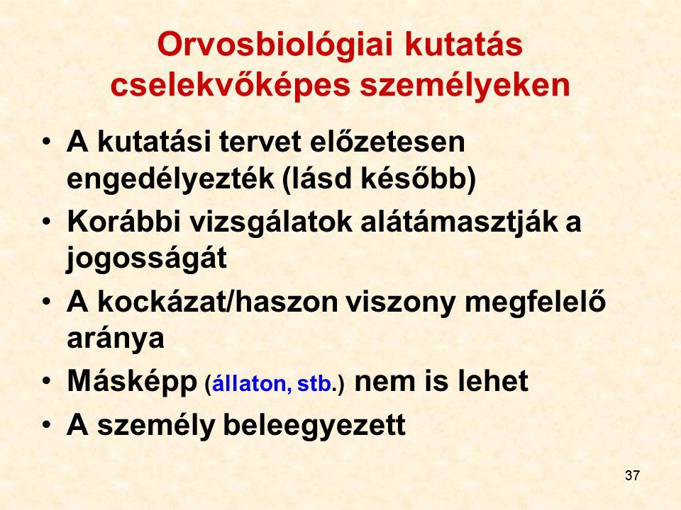 Orvosbiológiai kutatás cselekvőképes személyeken
