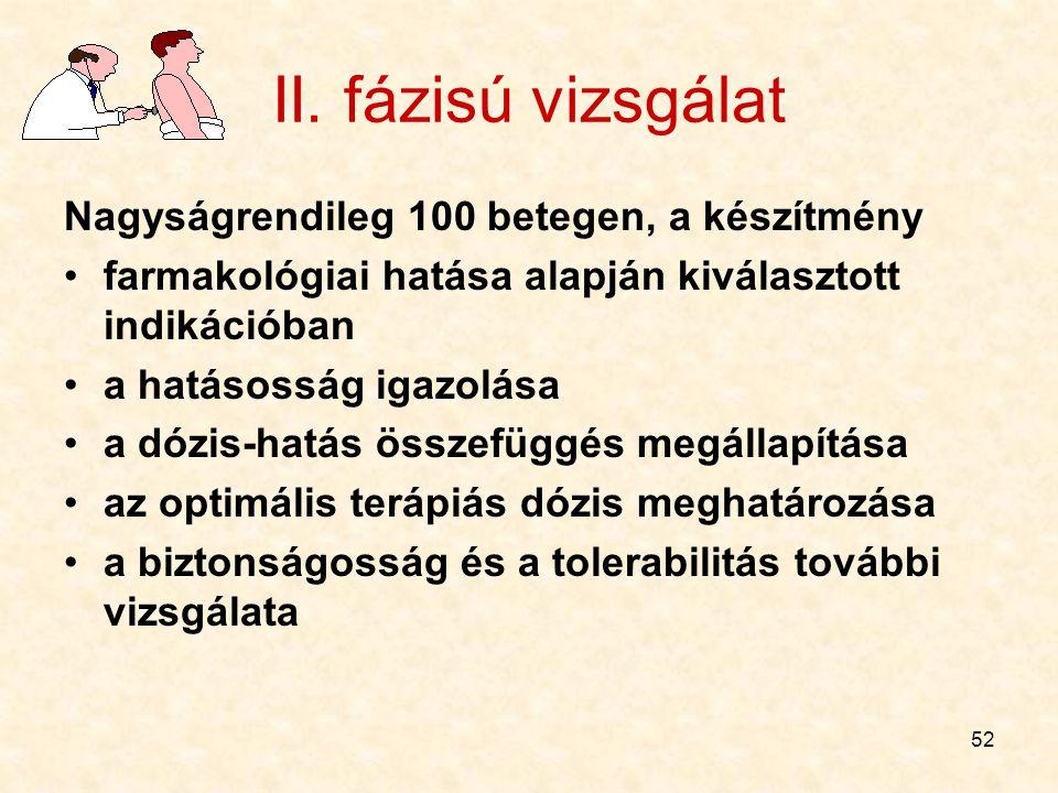 II. fázisú vizsgálat Nagyságrendileg 100 betegen, a készítmény