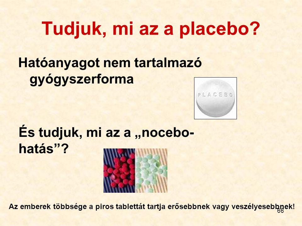 Tudjuk, mi az a placebo Hatóanyagot nem tartalmazó gyógyszerforma