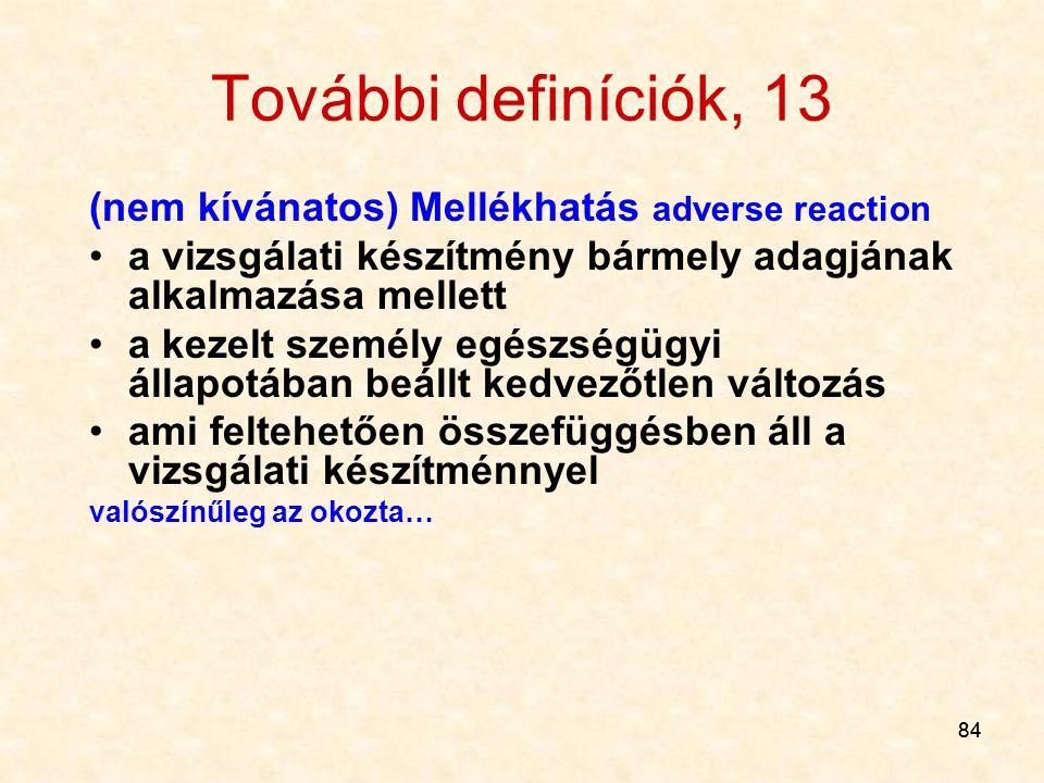 További definíciók, 13 (nem kívánatos) Mellékhatás adverse reaction