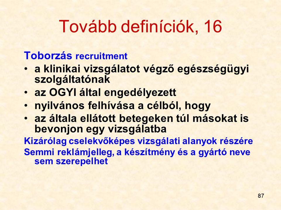 Tovább definíciók, 16 Toborzás recruitment