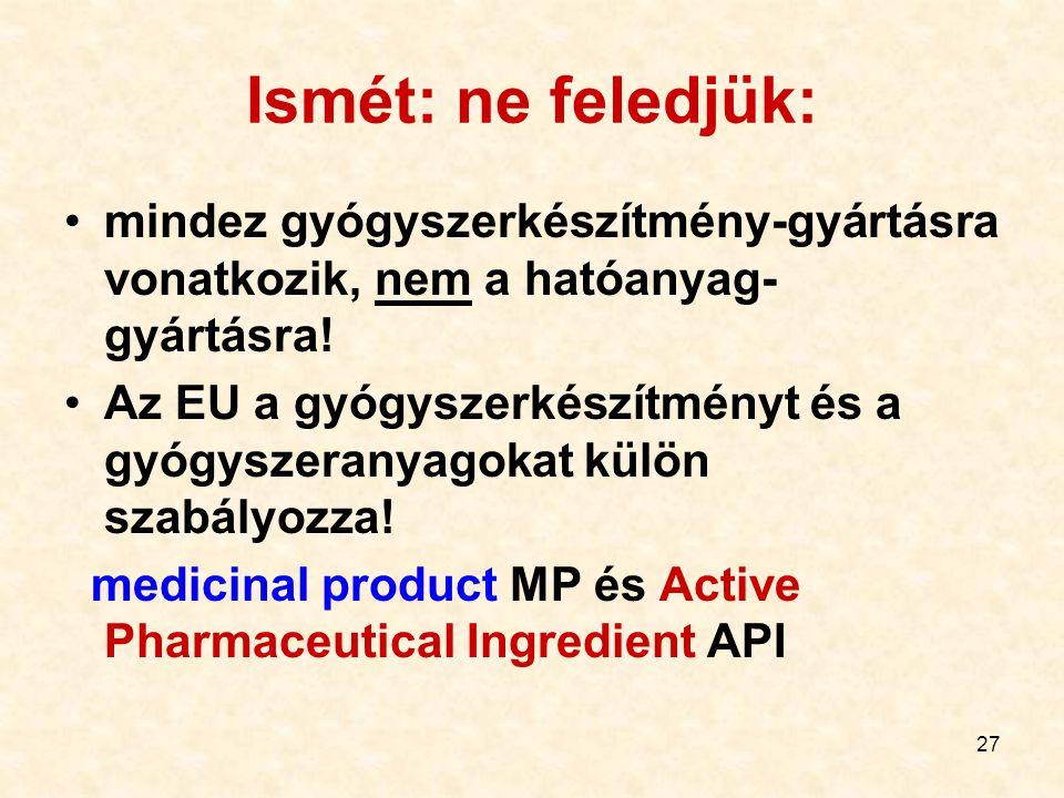 Ismét: ne feledjük: mindez gyógyszerkészítmény-gyártásra vonatkozik, nem a hatóanyag-gyártásra!