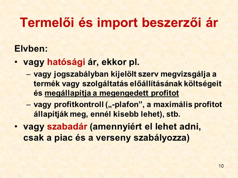 Termelői és import beszerzői ár