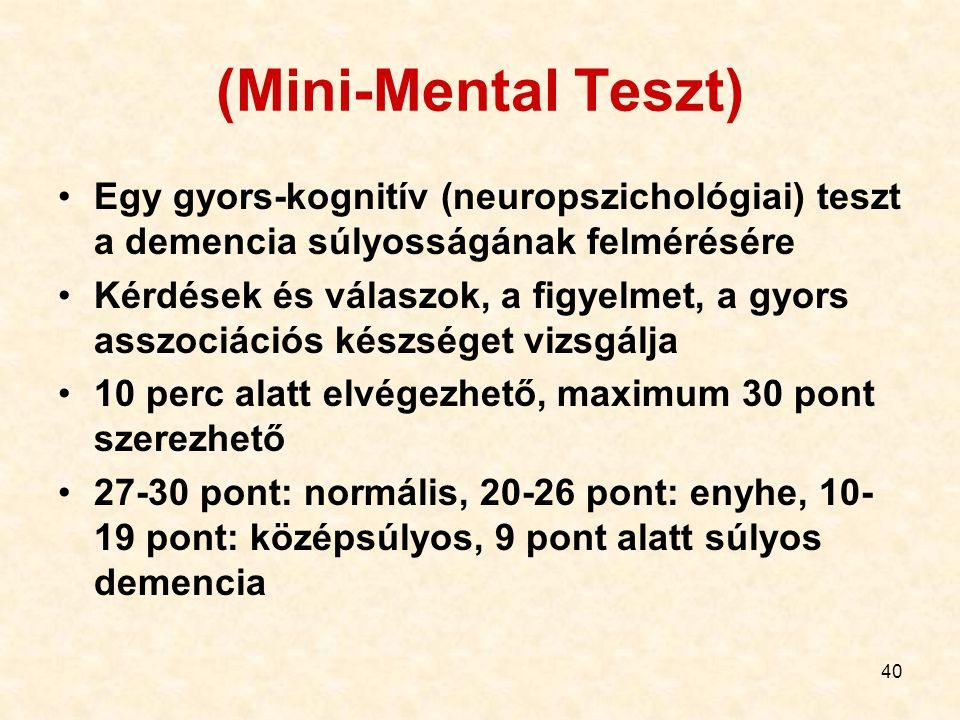 (Mini-Mental Teszt) Egy gyors-kognitív (neuropszichológiai) teszt a demencia súlyosságának felmérésére.