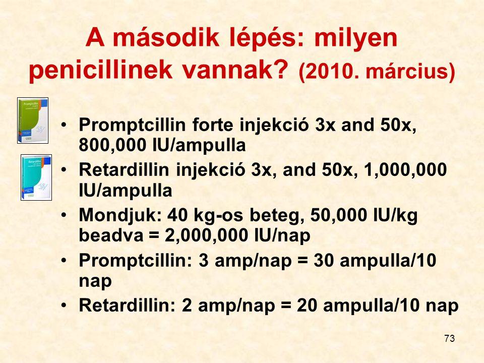 A második lépés: milyen penicillinek vannak (2010. március)