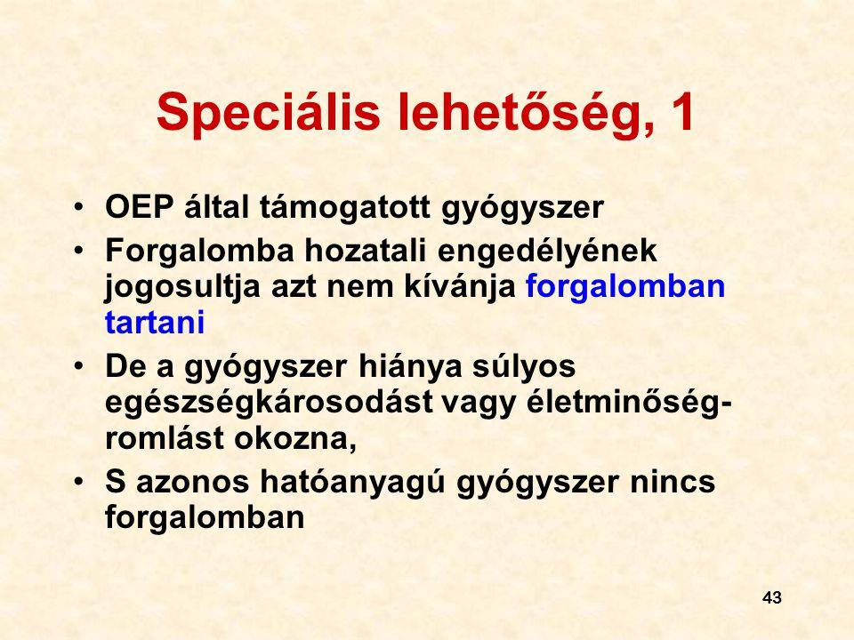 Speciális lehetőség, 1 OEP által támogatott gyógyszer
