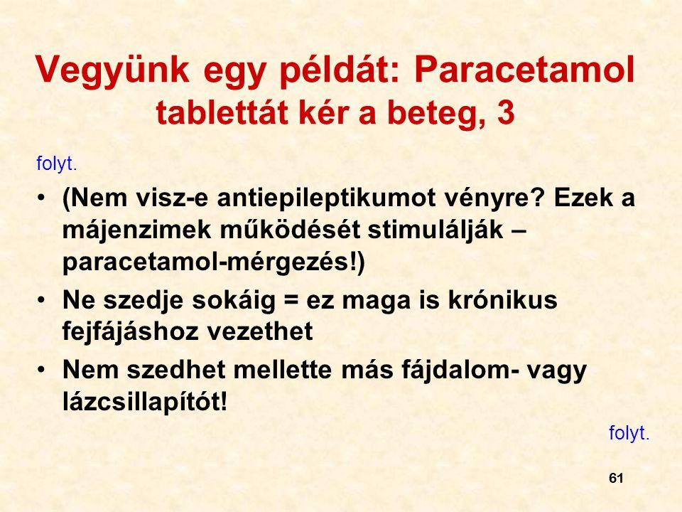 Vegyünk egy példát: Paracetamol tablettát kér a beteg, 3
